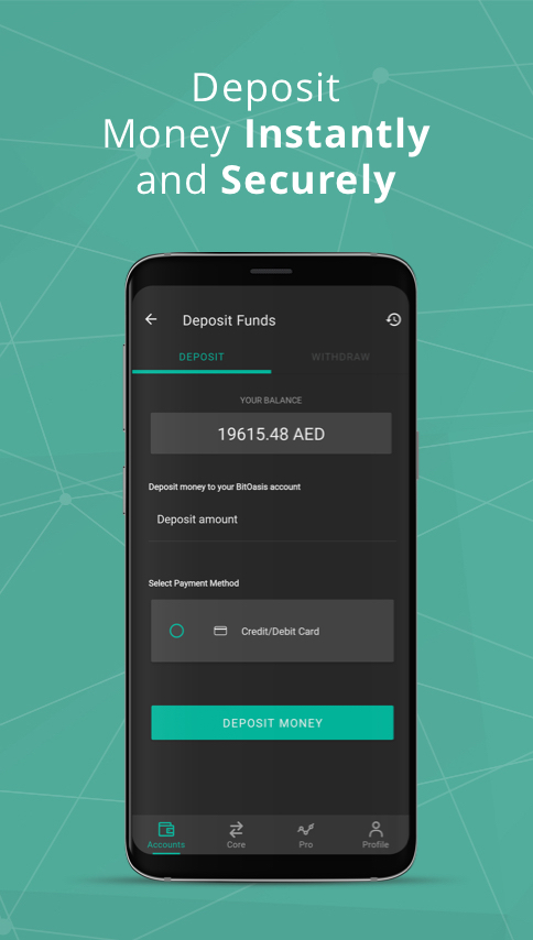 Deposit AED through Credit/Debit cards