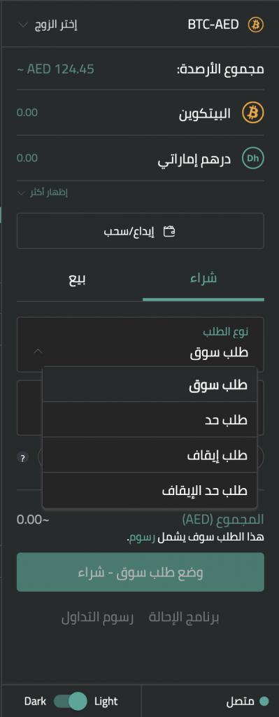 أنواع طلبات التداول المختلفة على بت أُواسيس Pro
