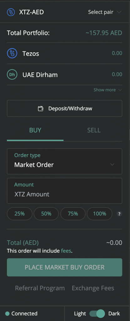 Buy Tezos (XTZ) on BitOasis Pro