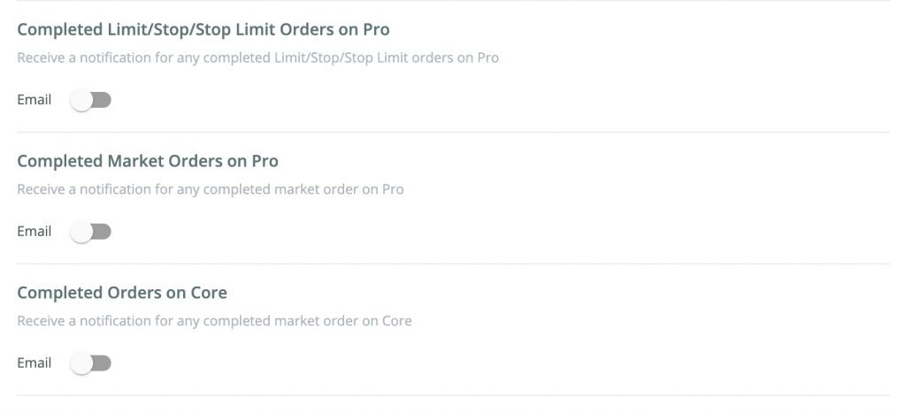 Order Confirmation Options Page on BitOasis